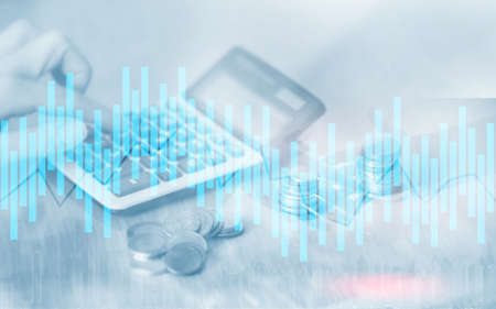 andle chart. Business analysis, financial investment concept. Economic trend and blurred background with financial graph on virtual screen. Reklamní fotografie