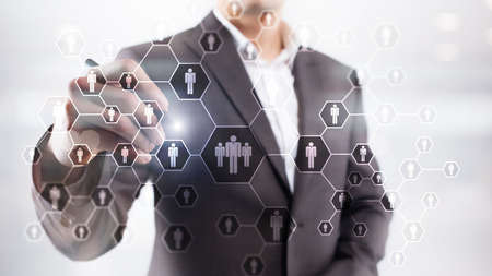 HR, Human Resources, Recruitment, Organisation structure and social network concept. Stock Photo