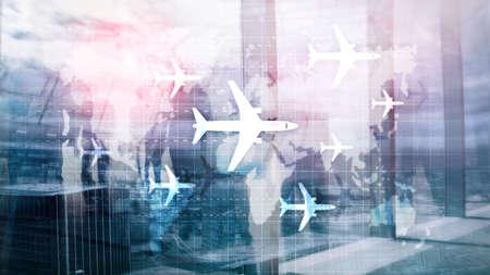Air travel concept. Airplane on world map Blured Business background. Reklamní fotografie