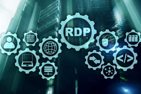 RDP Remote Desktop Protocol. Terminal Services. Server background. Stock fotó