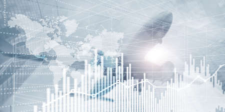 Diagrammdiagramm der Geschäftsfinanzen. Trading Forex Exchange Investment Fintech-Konzept. Gemischte Medien
