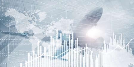 Graphique de graphique de finance d'entreprise. Trading Forex Exchange Investment Fintech concept. Technique mixte
