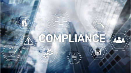 Compliance diagram with icons. Business concept on abstract background. Stock Photo