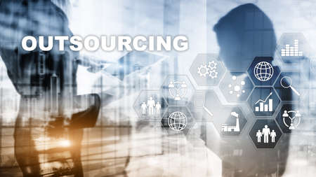 Outsourcing Human Resources. Global Business Industry Concept. Freelance Outsource International Partnership.