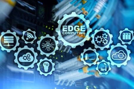 EDGE COMPUTING on modern server room background. Information technology and business concept for resource intensive distributed computing services.