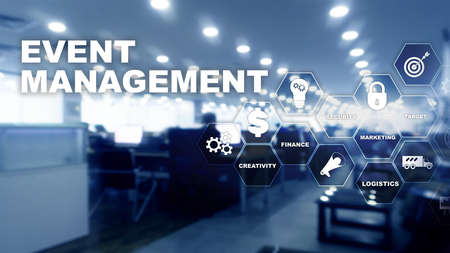 Event management Concept. Event management flowchart. Event management related items. Mixed media business. Imagens