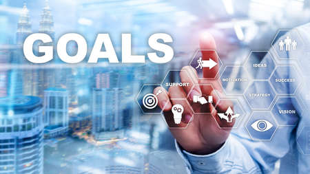 Target Goals Expectations Achievement Graphic Concept. Business development to success and growing growth Stockfoto
