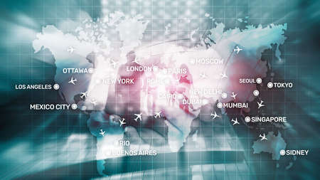 Aviation wallpaper with planes over the map with major city names. Digital map with planes around the world concept