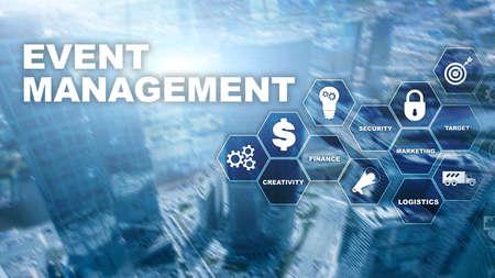 Event management Concept. Event management flowchart. Event management related items. Mixed media business. Banco de Imagens