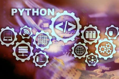 Python Programming Language on server room background. Programing workflow abstract algorithm concept on virtual screen Banco de Imagens