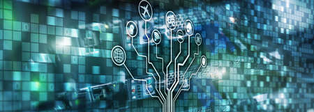 Smart server concept. IOT Internet of Things. ICT Information Communication Technology. Diagrams with icons on server room digital backgrounds