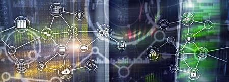 Universal Electronics Technology Background. Internet Concept of global business. Server rack blurred background