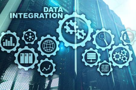 Data integration Business Information Technology Concept on Server Room Background Banco de Imagens