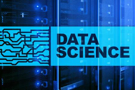 Data Science Artificial Intelligence Concept. Futuristic Supercomputer background