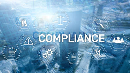 Compliance diagram with icons. Business concept on abstract background Banco de Imagens