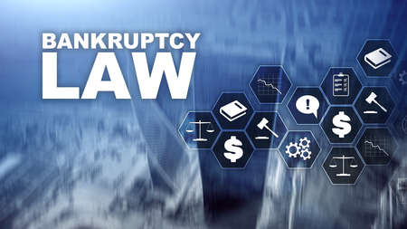 Bankruptcy law concept. Insolvency law. Judicial decision lawyer business concept. Mixed media financial background. Banco de Imagens