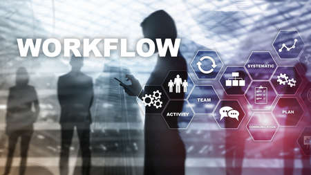 Automation of business workflows. Work process. Reliability and repeatability in technology and financial processes Banco de Imagens