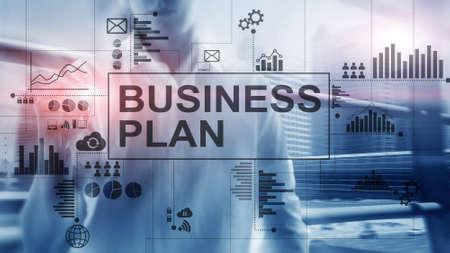 Double exposure Business plan and strategy concept. Banco de Imagens