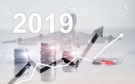 Stack of coins for finance and banking, investment concept. Business growth year 2019. Banco de Imagens