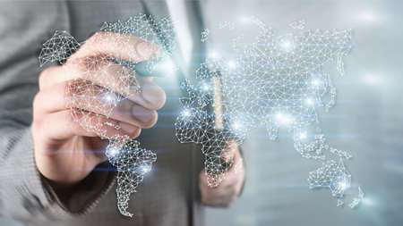 Global World Map Double Exposure Network. Telecommunication, International business Internet and technology concept. Banco de Imagens
