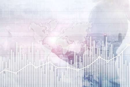 Business finance growth graph chart analysing diagram trading and forex exchange concept double exposure mixed media background website header Banco de Imagens