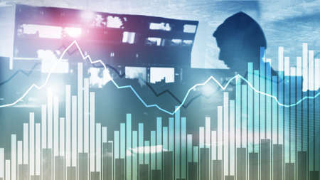 Double exposure Financial graphs and diagrams. Business, economics and investment concept.