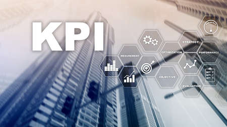 KPI - Key Performance Indicator. Business and technology concept. Multiple exposure, mixed media. Financial concept on blurred background. Banco de Imagens