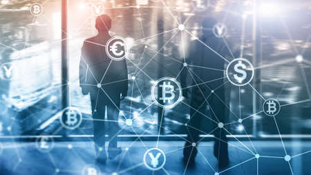 Double exposure Bitcoin and blockchain concept. Digital economy and currency trading.