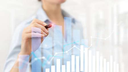 Financial growth graph. Sales increase, marketing strategy concept. Banco de Imagens