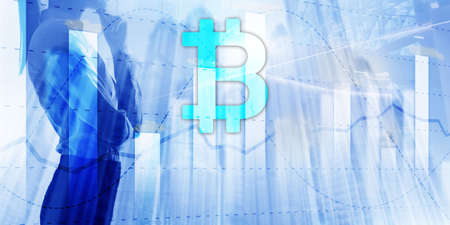 Bitcoin and diagram. Crypto Icon on futuristic background. Trading exchange stock market investment.