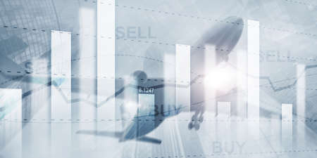 Stock market or forex trading graph in graphic double exposure. Abstract business finance background.