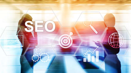 SEO - Search engine optimization, Digital marketing and internet technology concept on blurred background. Banque d'images