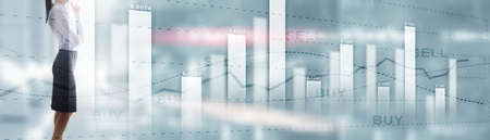 Buy and sell finacial concept. Business Graph Stock Market chart. Digital charts and screen interface. Panoramic banner.