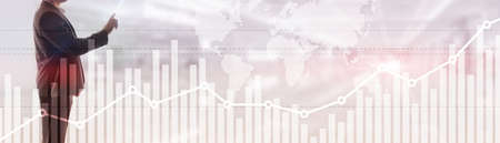Double exposure global world map on business financial stock market trading background. Banco de Imagens