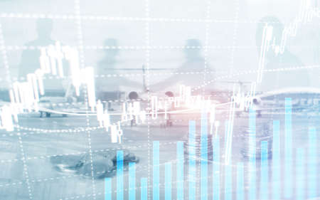 Digital stock market. Financial business stock market graph chart candle stick. Forex trading. Coins and megapolis background.
