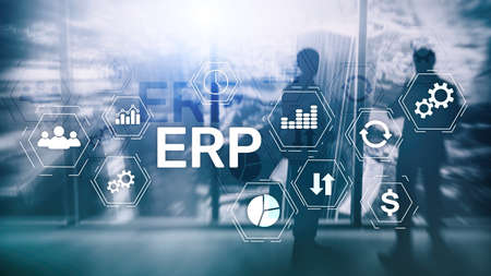 ERP system, Enterprise resource planning on blurred background. Business automation and innovation concept. Banco de Imagens