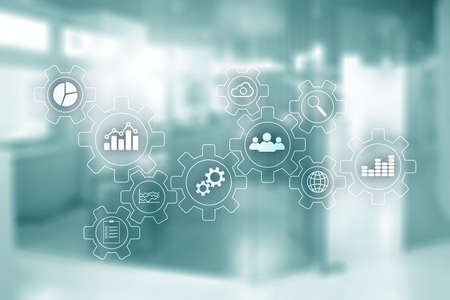Blurred Office Space. Business Technology process abstract diagram with gears and icons. Workflow and automation technology concept Banco de Imagens