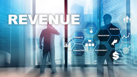 Increase revenue concept. Planing growth and increase of positive indicators in his business. Mixed media. Planning revenue growth Banco de Imagens