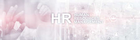 Human resource management. Horizontal mixed media background.