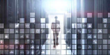 Digital abstract background pixelated icons blurred modern server room. Technology telecommunication Iot internet of thing concept. Banco de Imagens