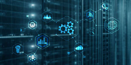 Gears icon business process automation connect. Server room abstract background