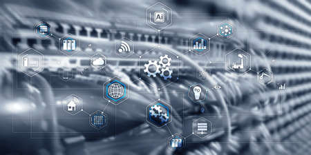 Gears icon business process automation connect server room