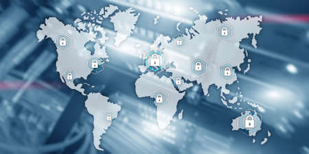 Global cyber security concept communication privacy data protection server room background.