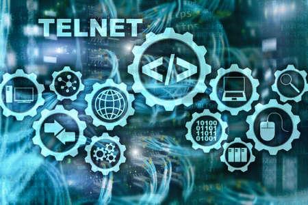 Teletype Network Protocol. Telnet Virtual terminal client. Internet and Network concept. Telnet