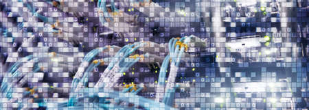 Binary code on datacenter background. Cyber space concept. UniqueTechnology Wallpaper Banco de Imagens