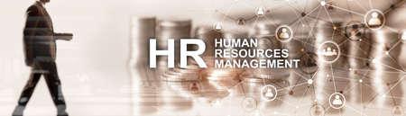 Human resource management. Horizontal mixed media background Banco de Imagens