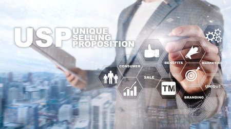 UPS - Unique selling propositions. Business and finance concept on a virtual structured screen. Mixed media Banco de Imagens