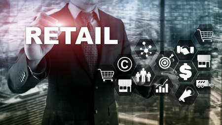Retail Technology Communication Shopping Virtual Screen Concept. Marketing Data management. Futuristic Online shopping. Abstract Background