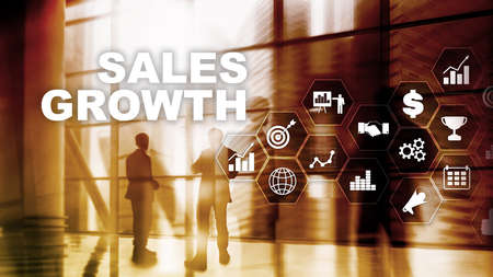 Chart growth concept. Sales increase, marketing strategy. Double exposure with business graph