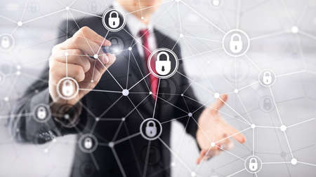 Cyber security, information privacy, data protection concept on modern server room background. Internet and digital technology concept Banco de Imagens